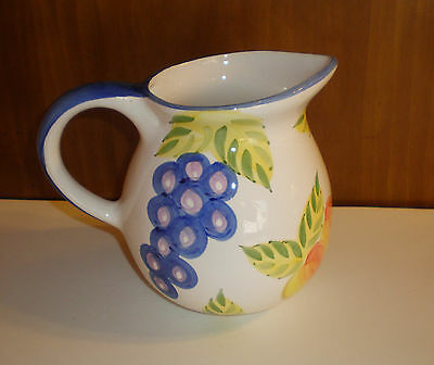 "Artist's Touch Large Pottery Pitcher ""Orchard Jubilee Pattern"" by Heritage Mint"