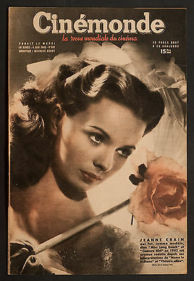 'cinemonde' French Vintage Magazine Jeanne Crain Cover 4 June 1946