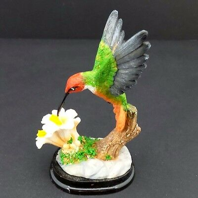 Hummingbird White Flowers Statue on Wood Base Small Bird Figurine Collectible