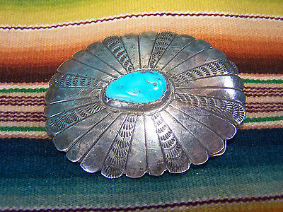 Old sterling silver Turquoise Navajo Belt Buckle~Stamped And Signed RP
