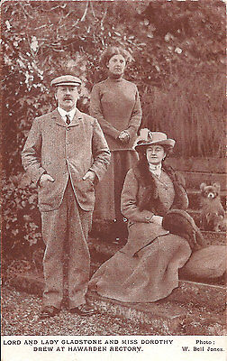 Lord and Lady Gladstone and Miss Dorothy Drew, Hawarden Rectory - Postcard
