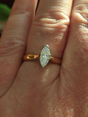 Hallmarked 18ct Yellow Gold Marquise Cut Diamond 0.66ct Solitaire Ring + Papers