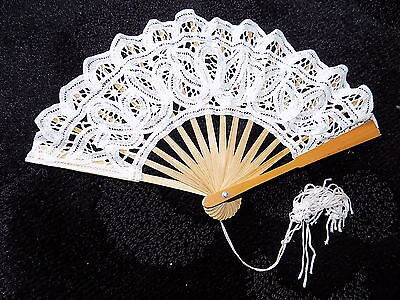 Collectable vintage bamboo & lace hand fan handbag minature size