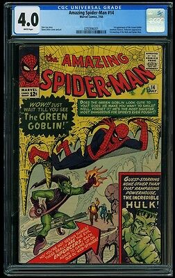 Amazing Spider-Man 14 CGC 4.0 White Pages Stan Lee 1st Apperance Green Goblin