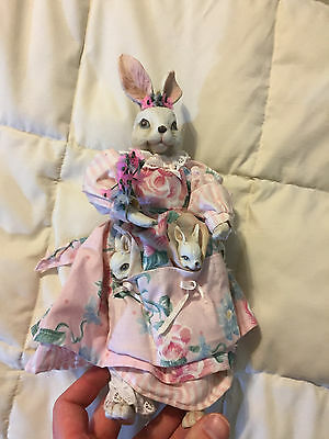 Vintage Porcelain China White Bunny Rabbit Mother Floral Outfit Figure!