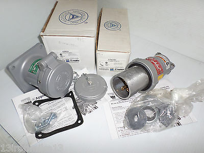 ONE SET NEW APPLETON ACP6034BC 60-Amp PLUG ADR6034 60A 3W4P  RECEPTACLE NIB