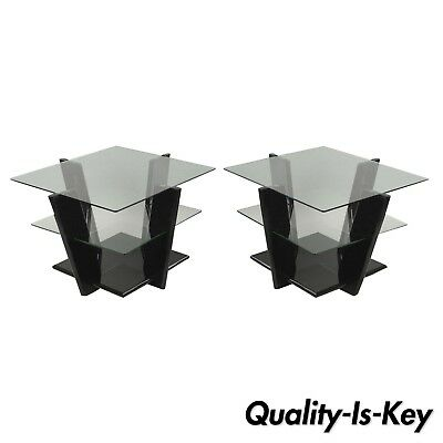 Pair of Contemporary Modern Black Lacquer & Glass 3 Tier End Tables Sculptural