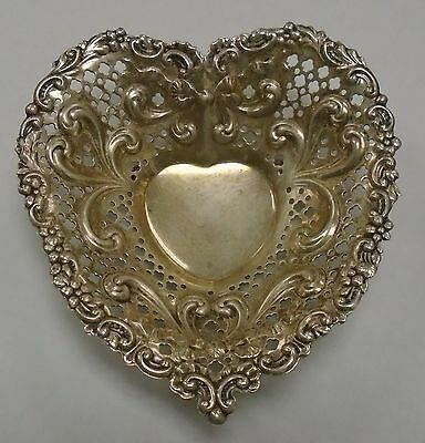 """Vintage Gorham Sterling Silver 5"""" Heart Shaped Pierced Footed Bowl / Dish"""