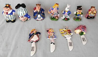 Lot of Fitz & Floyd Alice in Wonderland Ceramics: Figurines and Knives