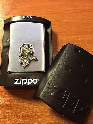 """Rare Collectible 2010 Zippo """"wolf"""" 1600 Slim Brushed Finish Chrome New In Box"""