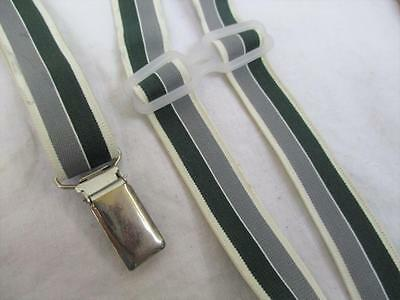 S Vintage 70's Mens Braces Trouser Suspenders Skinny Green Stripe Mod Retro Folk