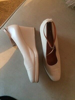 Vintage Biba White Leather Wedge Heels Size 5