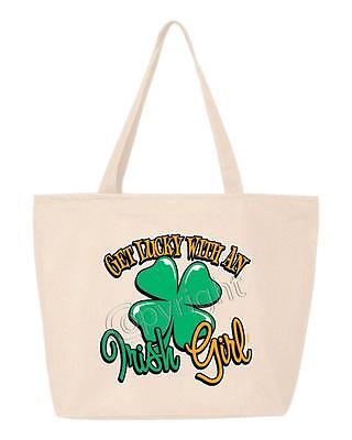 Get Lucky With An Irish Girl Zipper Heavy Cotton Canvas Tote St. Patty's Zip Bag