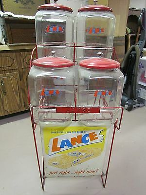 Vintage Lance Crackers 4 Jar Rack With Jars, Lids And The Original Sign.........