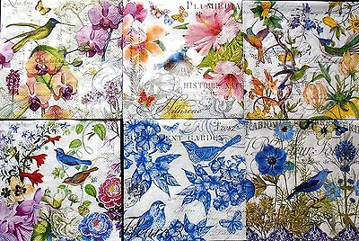 Set of 6, Paper Cocktail Napkins for Decoupage and Paper Crafts, Birds, Floral