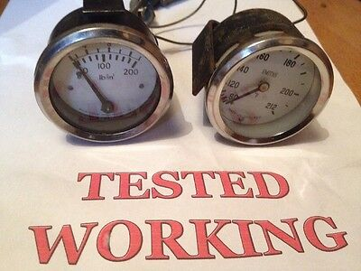 2 x TESTED WHITE FACE SMITHS OIL PRESSURE & WATER TEMPERATURE VINTAGE CLASSIC