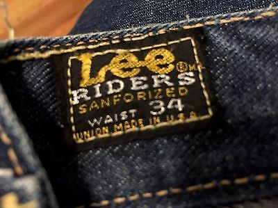 Vintage 1960's LEE RIDERS Redline Selvedge Blue Denim Jeans. Size 33