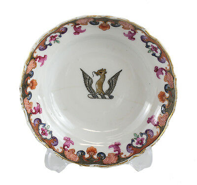 Chinese Export Porcelain Saucer c1810 Winged dragon armorial gilt