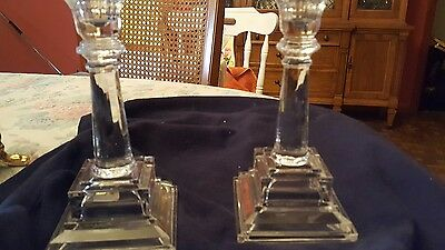 pair of vintage glass candle sticks