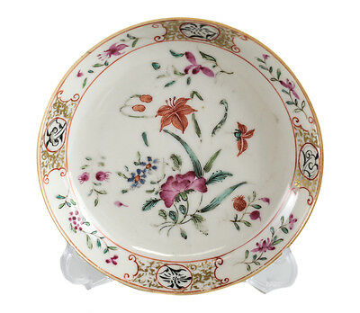 Chinese Export Porcelain Saucer c1810 hand painted florals gilt
