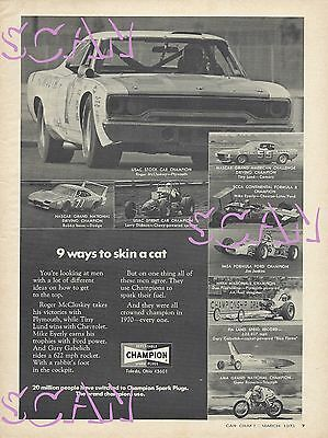 1970 Champion Spark Plug Magazine Ad Roger McCluskey Road Runner Bobby Isaac 71
