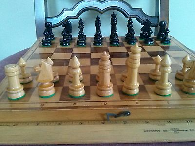 "Vintage 13"" wood chess set, made in Poland"
