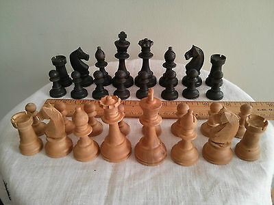 "Vintage wood chess set, king 3"" tall, made in France"
