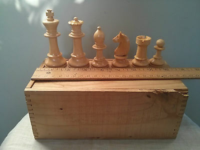 "Vintage staunton wood chess set, king 3.5"" tall, original box, made in France"