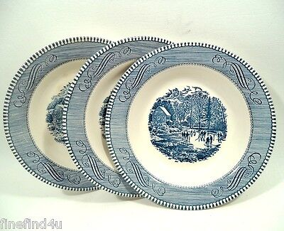 Blue (Willow) by Royal China Currier & Ives USA China Rim Soup Bowl + 1 Free