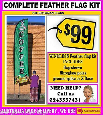 COFFEE flag pole kit WINDLESS advertising banner sign + poles + spike (green)