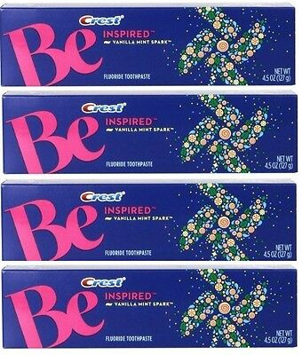 Lot of 4 Crest Be Inspired Vanilla Mint Spark Fluoride Toothpaste 4.5 oz Exp16