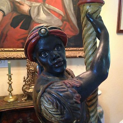 Antique Hand-Carved and Hand-Painted Early 20th Century Blackamoor Torchiere