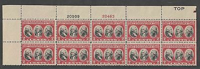 US Sc 703 Battle of Yorktown Top Plate Block of 10 MNH  Free Shipping