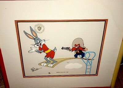 Warner Brothers Cel Yosemite Sam Bugs Bunny DIVING HARE 1 signed Friz Freleng
