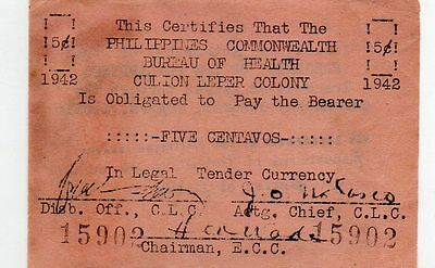Philippines Emergency Guerrilla Currency 5 Centavos Culion Leper Colony S252