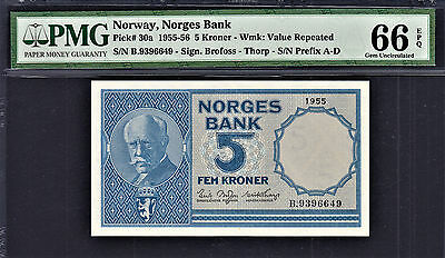 Norway 5 Kroner 1955 Pick-30a GEM UNC PMG 66 EPQ HIGHEST GRADE !