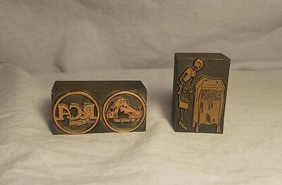 2 Vintage Letterpress Blocks RCA Logo His Masters Voice, Lady & Crank Phonograph
