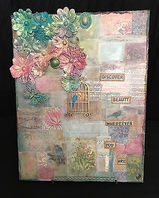 Artwork original mixed media collage canvas painting 11x14 acrylic