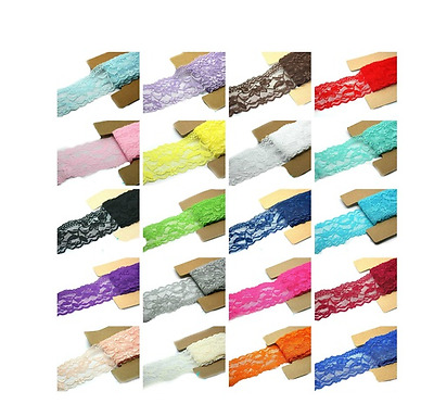 8 yards mix color Stretch Elastic Lace or Fold Over Trim for DIY Headbands