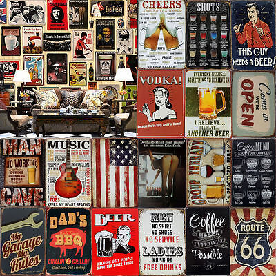 Metal Plate Rusted BEER POSTER Tin Sign Vintage Man Cave Home Pub Iron Retro