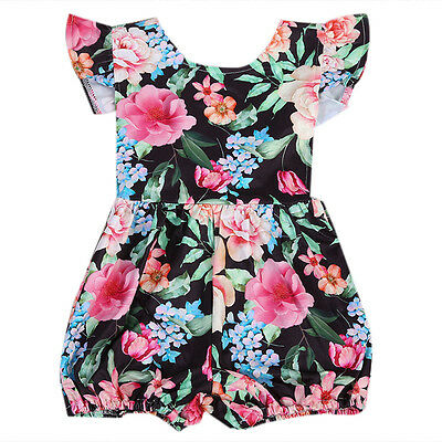 Sweet Newborn Toddler Baby Girl Clothes Floral Romper Bodysuit Outfits 0-24M