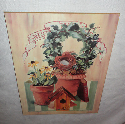 4 Your Home Interiors ''Birdhouse Flower Pots & Ivy'' Picture on Wood  SALE