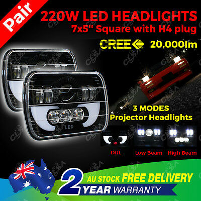 220W Pair 7X5'' LED Cree Square Headlight H/L/DRL Wrangler YJ Cherokee XJ Trucks