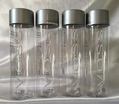 "4 VOSS Artesian Empty Water Plastic Bottles 9"" tall 16.9 oz from Norway"
