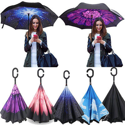 Folding C-Handle Reverse Parasols Rain Windproof Umbrella Double Layer Inverted