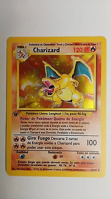 SPANISH - 1st Edition Pokemon Base Set HOLO - CHARIZARD 120HP #4/102 NM
