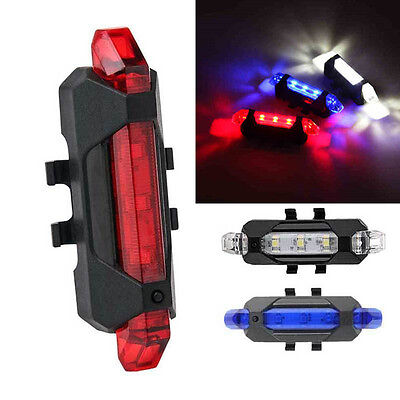 USB Rechargeable 4 Modes Bike Bicycle Cycling Front Rear Tail Light LED Lamp AU