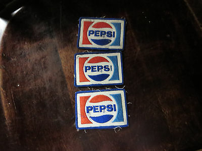 3- VINTAGE PEPSI COLA Sew-On Patches