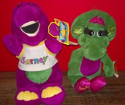 "Pair of BARNEY 13"" & BABY BOP 12""  1992 DAKIN Plush Animals with tags! 1992"