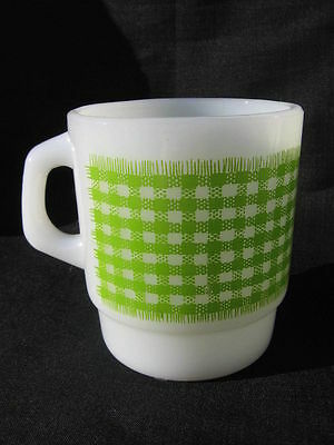 vtg FIRE KING green white check checkered gingham Mug stackable checkerboard D